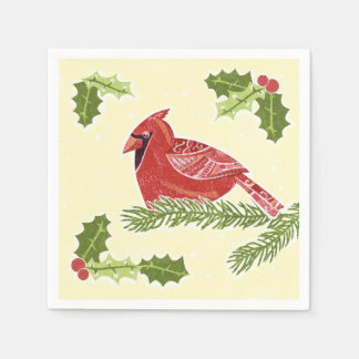 Cardinal Bird on Branch with Holly Christmas Desig Standard Cocktail Napkin