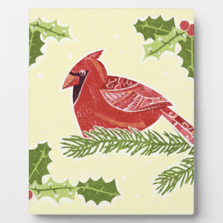Cardinal Bird on Branch with Holly Christmas Desig Photo Plaques