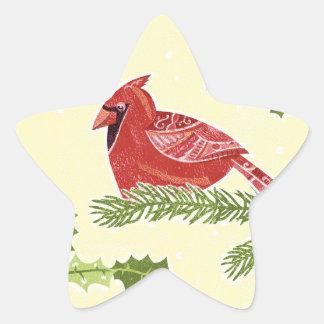 Cardinal Bird on Branch with Holly Christmas Desig Star Sticker