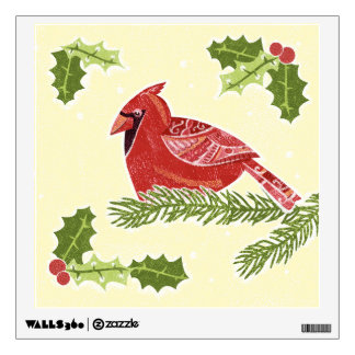 Cardinal Bird on Branch with Holly Christmas Desig Wall Sticker