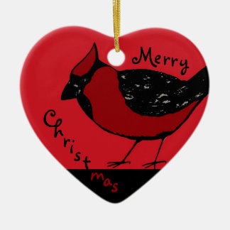 CARDINAL BIRD  RED & BLACK Ornament