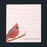 "Cardinal Bird Red Lined Custom Name Notepad<br><div class=""desc"">An personalized elegant red lined stationery featuring a bright red cardinal bird painted with watercolor on a white background.   Nice for notes,  lists and reminders.</div>"