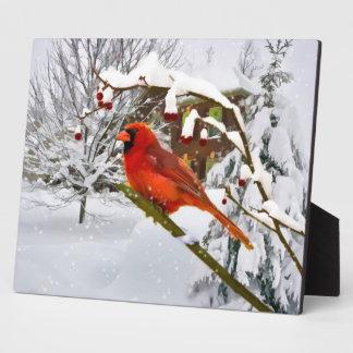 Cardinal Bird, Snow, Winter Plaque