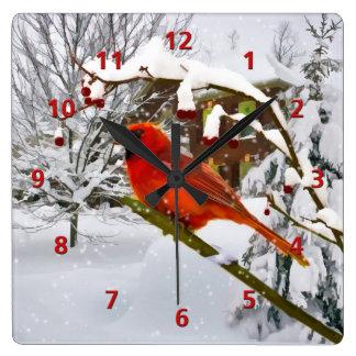 Cardinal Bird, Snow, Winter Square Wall Clock