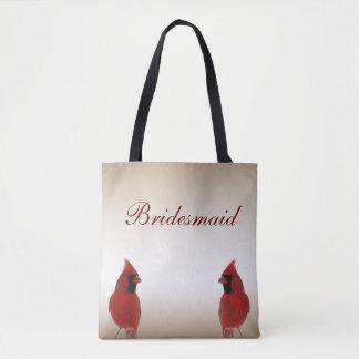 Cardinal Bird Wedding Bridesmaid Tote Bag