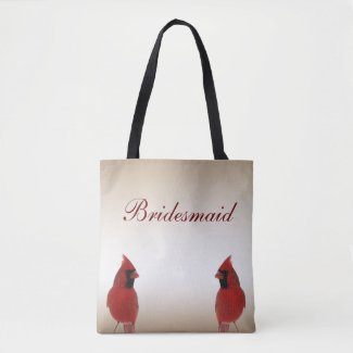 Cardinal Bird Wedding Bridesmaid Tote Bag