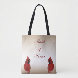 Cardinal Bird Wedding Maid of Honor Tote Bag