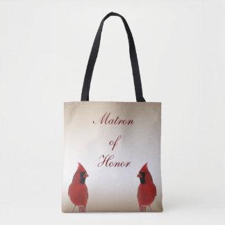 Cardinal Bird Wedding Matron of Honor Tote Bag