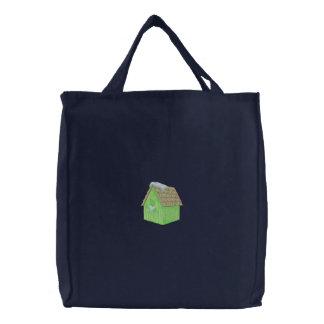 Cardinal Birdhouse Embroidered Tote Bag