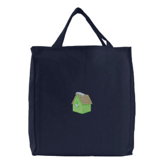 Cardinal Birdhouse Embroidered Tote Bag