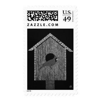 Cardinal Birdhouse Postage Stamp
