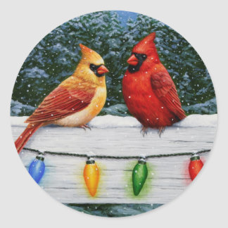 Cardinal Birds and Christmas Lights Classic Round Sticker