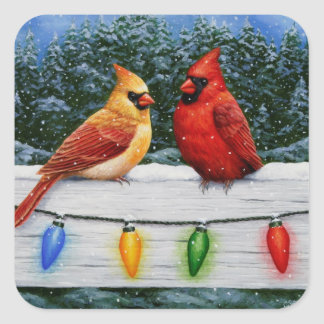 Cardinal Birds and Christmas Lights Square Sticker