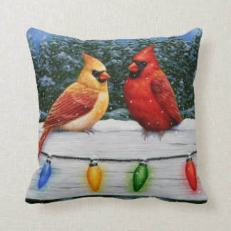 Cardinal Birds and Christmas Lights Throw Pillow