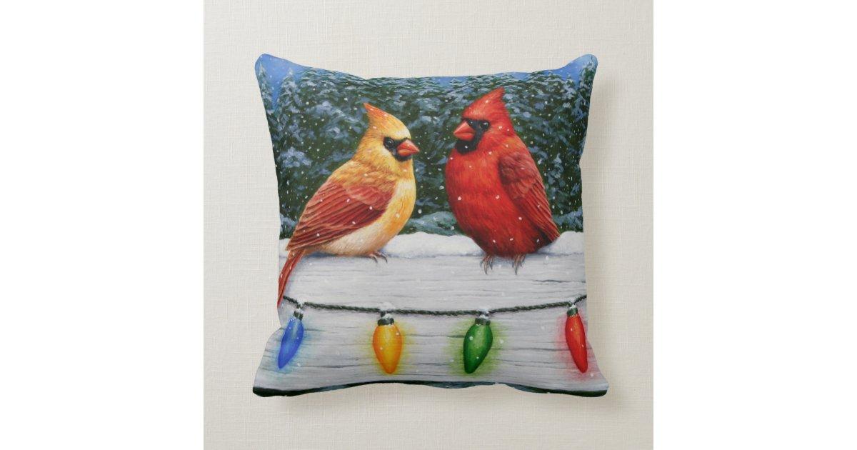 Cardinal Bird Throw Pillows : Cardinal Birds and Christmas Lights Throw Pillow Zazzle