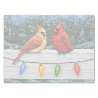 Cardinal Birds and Christmas Lights Tissue Paper