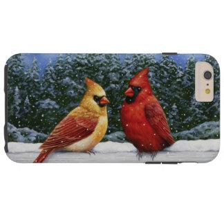 Cardinal Birds and Christmas Lights Tough iPhone 6 Plus Case