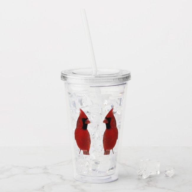 Cardinal Birds Animal Nature Acrylic Tumbler