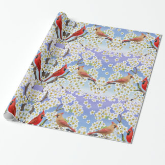 Cardinal Birds in Apple Blossoms Gift Wrap