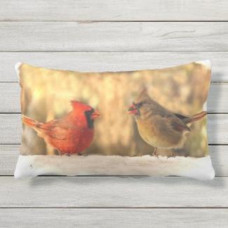 Cardinal Birds in Autumn Animal Outdoor Pillow