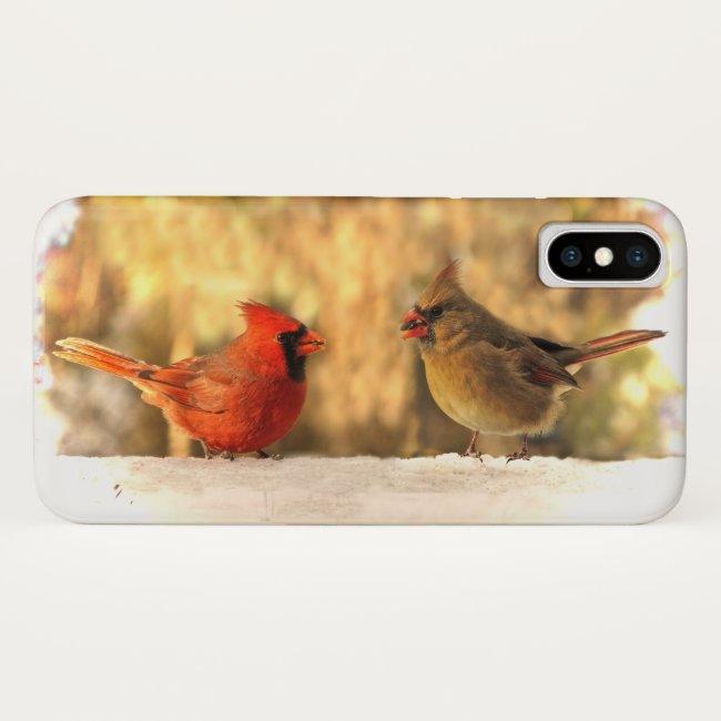Cardinal Birds in Autumn iPhone X Case