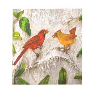 Cardinal birds notepad