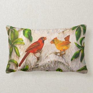 Cardinal birds - Singing of love Lumbar Pillow