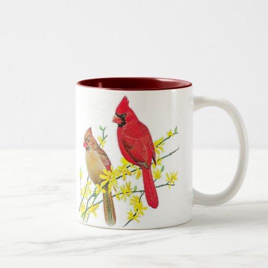 CARDINAL BIRDS Two-Tone COFFEE MUG