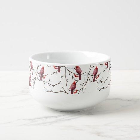 Cardinal Birds, Winter Cherries and Snow Pattern Soup Mug