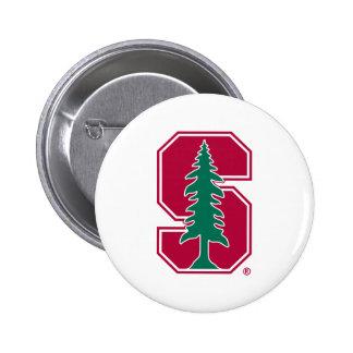 "Cardinal Block ""S"" with Tree 2 Pinback Buttons"
