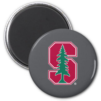 """Cardinal Block """"S"""" with Tree 2 Inch Round Magnet"""