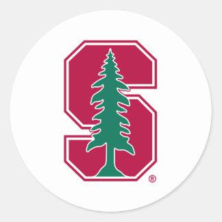 "Cardinal Block ""S"" with Tree 2 Round Stickers"