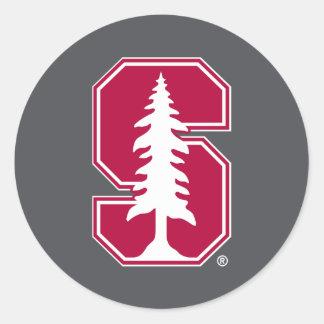 "Cardinal Block ""S"" with Tree 3 Round Stickers"