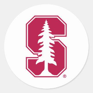 "Cardinal Block ""S"" with Tree 4 Round Stickers"