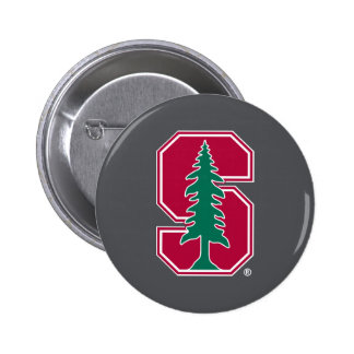 """Cardinal Block """"S"""" with Tree 2 Inch Round Button"""