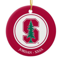 "Cardinal Block ""S"" with Tree Ceramic Ornament"
