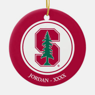 "Cardinal Block ""S"" with Tree Ceramic Ornament"