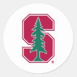 "Cardinal Block ""S"" with Tree Classic Round Sticker"