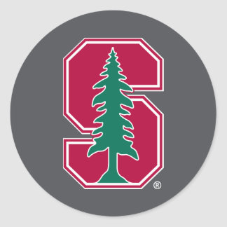 "Cardinal Block ""S"" with Tree Classic Round Sticker"