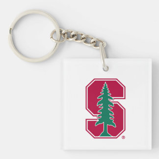 """Cardinal Block """"S"""" with Tree Double-Sided Square Acrylic Keychain"""