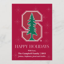 "Cardinal Block ""S"" with Tree Holiday Card"