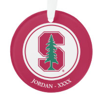 """Cardinal Block """"S"""" with Tree Ornament"""