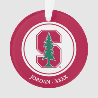 "Cardinal Block ""S"" with Tree Ornament"