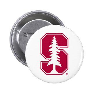 "Cardinal Block ""S"" with Tree Pinback Button"