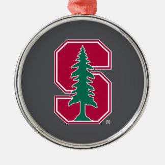 "Cardinal Block ""S"" with Tree Round Metal Christmas Ornament"