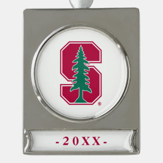 "Cardinal Block ""S"" with Tree Silver Plated Banner Ornament"