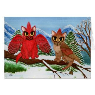 Cardinal Cats Winter Birds Fantasy Cat Art Card