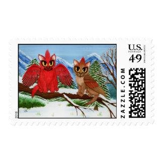 Cardinal Cats Winter Birds Fantasy Cat Art Postage