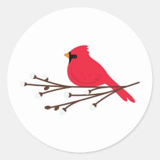 Cardinal Christmas Classic Round Sticker