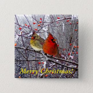 Cardinal Christmas Pinback Button